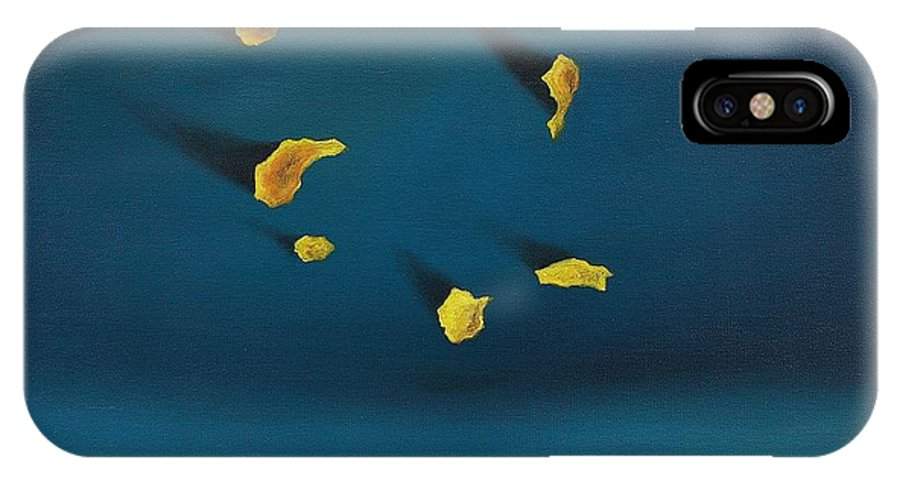 Blue IPhone X Case featuring the painting Grains Of Sand by Antonio Petrov