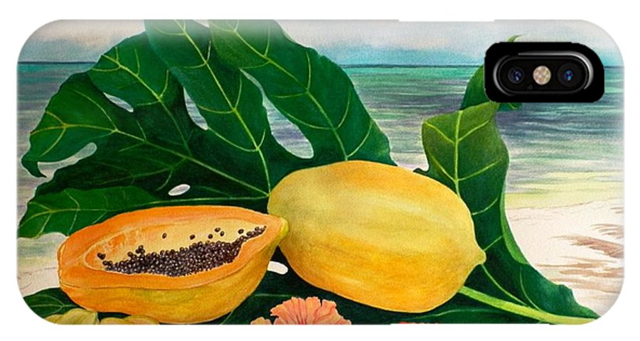 Indian Ocean IPhone X Case featuring the painting Grand Anse Still Life by Janet Summers-Tembeli