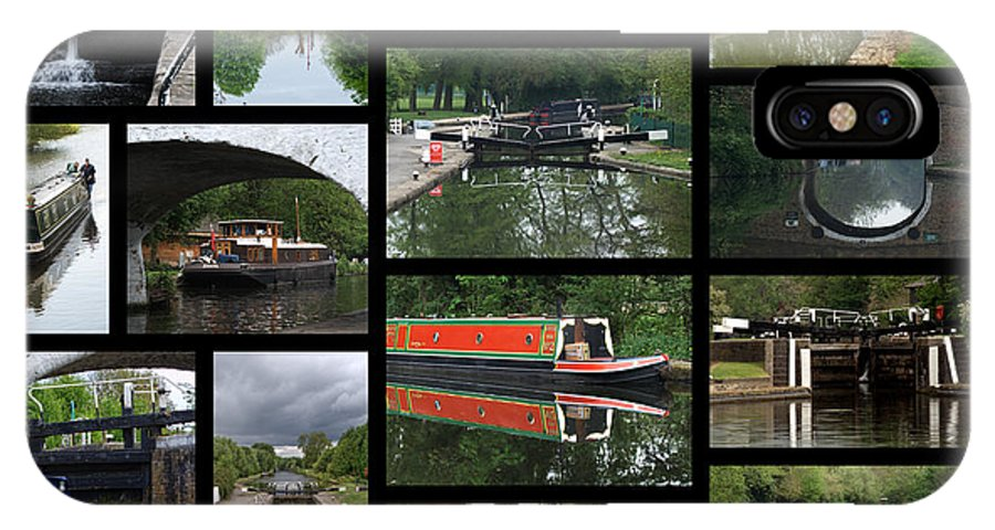 Grand Union Canal IPhone X Case featuring the photograph Grand Union Canal Collage by Chris Day