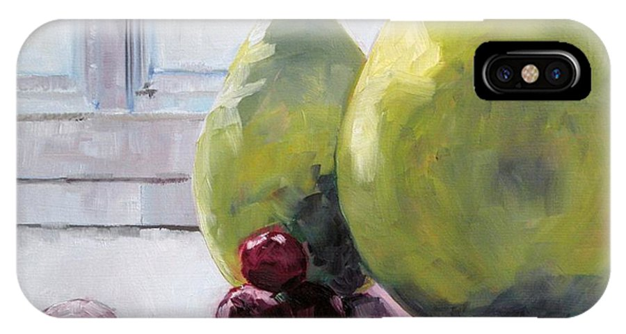 Fruit Paintings IPhone X Case featuring the painting Grapes And Pears by Saundra Lane Galloway