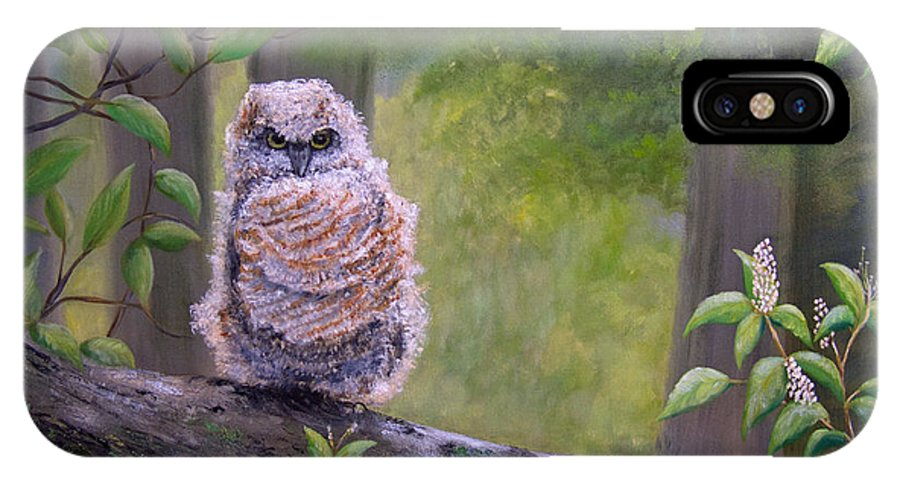 Owl IPhone X Case featuring the painting Great Horned Owlette by Dee Carpenter