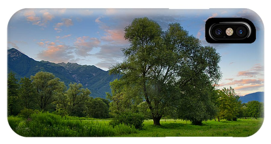 Trees IPhone X Case featuring the photograph Green Field With Trees by Mats Silvan