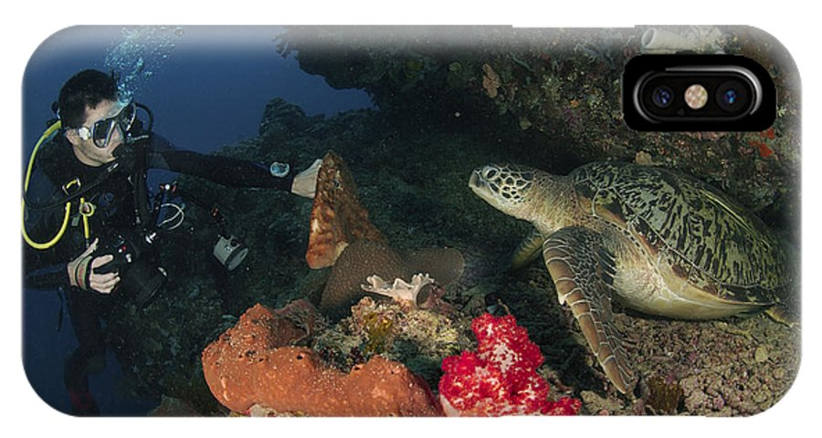 Diver IPhone X Case featuring the photograph Green Sea Turtle And Underwater by Mathieu Meur