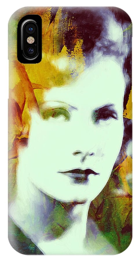 Greta Garbo Actress Famous Beauty Face Portrait Expressionism Impressionism IPhone X Case featuring the painting Greta Garbo Abstract Pop Art by Steve K