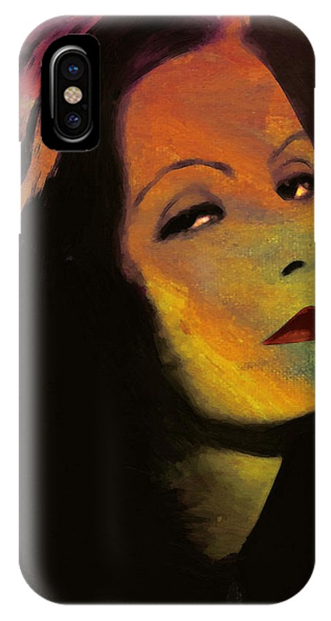 Greta Garbo Actress Famous Beauty Face Portrait Expressionism Impressionism IPhone X Case featuring the painting Greta Garbo Pop Art by Steve K