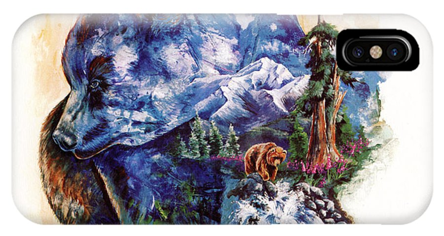 Bear IPhone X Case featuring the painting Grizzly Blue by Sherry Shipley