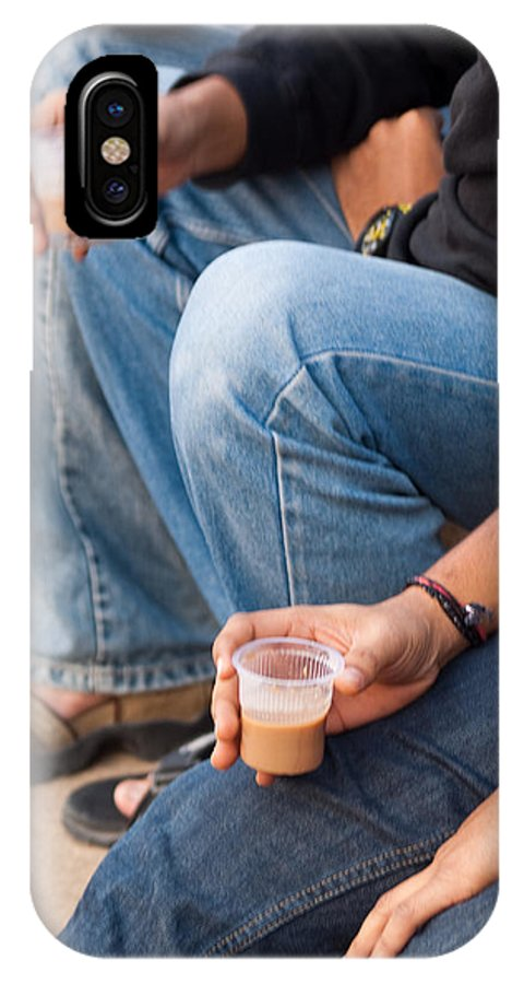 People IPhone X Case featuring the photograph Group Of Teenagers Sitting And Drinking Tea by Ashish Agarwal