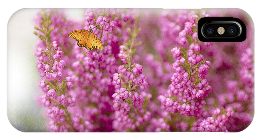 Butterfly IPhone X / XS Case featuring the photograph Gulf Fritillary Butterfly On Passionate Pink Flowers by Susan Gary
