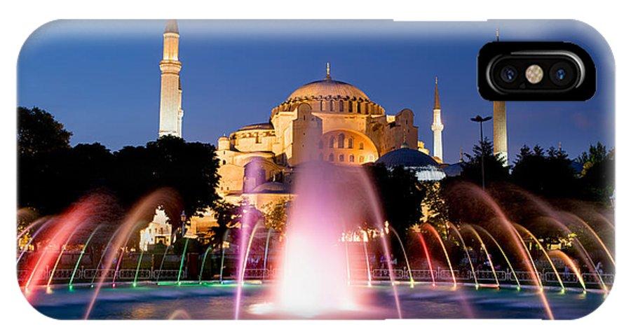 Ayasofya IPhone X Case featuring the photograph Hagia Sophia At Night by Artur Bogacki