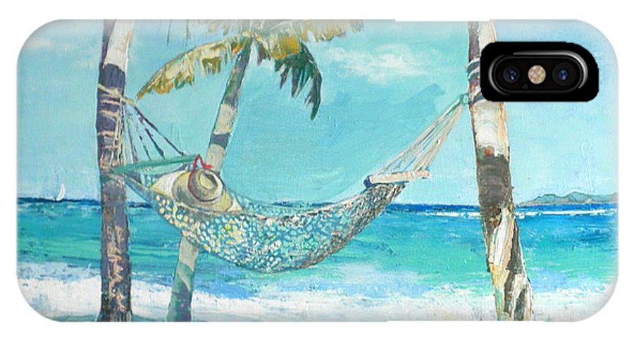 Beach Sea Caribbean Palms Sand Hammock IPhone X Case featuring the painting Hammock And Palms by Jan Farara
