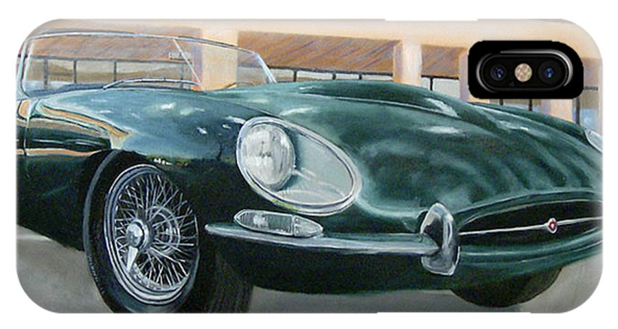 Jaguar IPhone X / XS Case featuring the painting Happy 40th by Jack Atkins