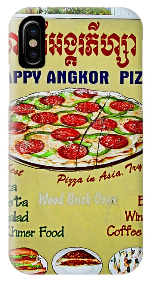 Pizza Restaurant Sign IPhone X Case featuring the photograph Happy Angkor Pizza Sign by Mark Sellers