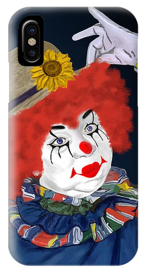 Happy Clown IPhone X Case featuring the painting Happy Clown by Methune Hively