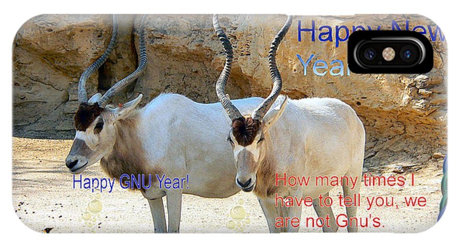 IPhone X Case featuring the photograph Happy Gnu Year by Arthur Herold Jr