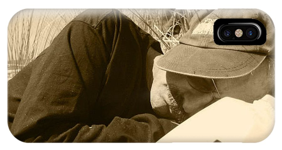 Man With Hat Sleeping IPhone X Case featuring the photograph Hard Daze Night by Kym Backland