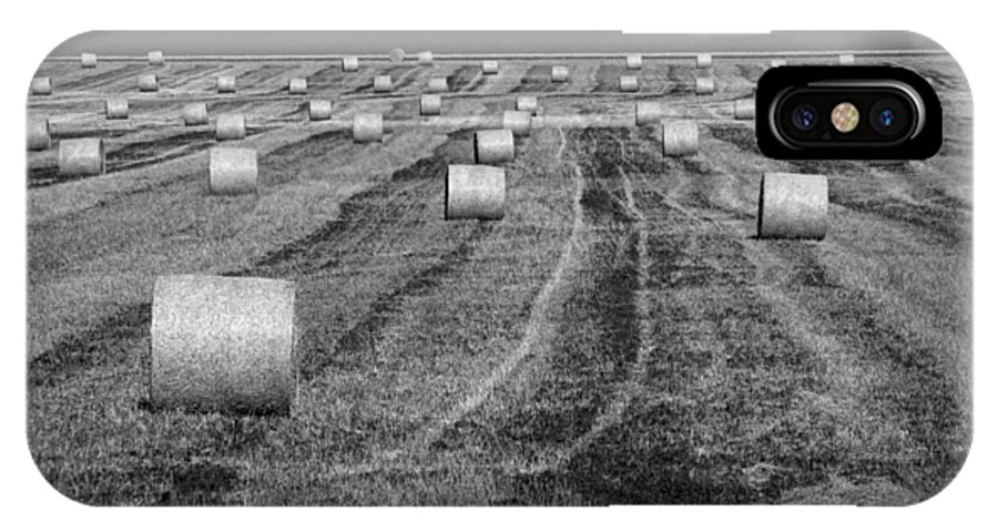 Art IPhone X Case featuring the photograph Hay Bales On A Farm In Alberta by Randall Nyhof