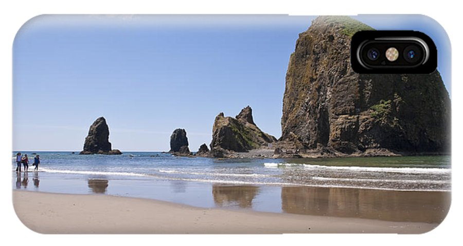 Cannon Beach IPhone X Case featuring the photograph Haystack Rock Seascape Canon Beach Oregon Usa by Sherry Curry