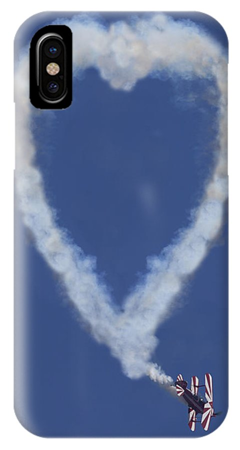 Plane IPhone X Case featuring the photograph Heart Shape Smoke And Plane by Garry Gay