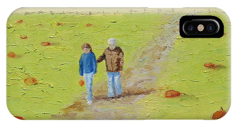 None Such Farms IPhone X / XS Case featuring the painting Heather And Poppy Pumpkin Picking by Cindy Roesinger