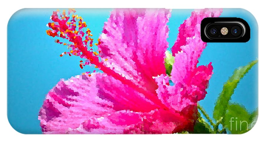 Hibiscus IPhone X Case featuring the photograph Hibiscus Crystal Luster by Gwyn Newcombe