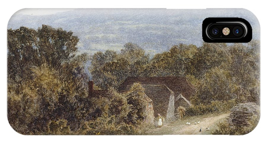 English; Landscape; C19th; C20th; Hill; Hilly; Cottage IPhone X Case featuring the painting Hindhead From Sandhills Witley by Helen Allingham