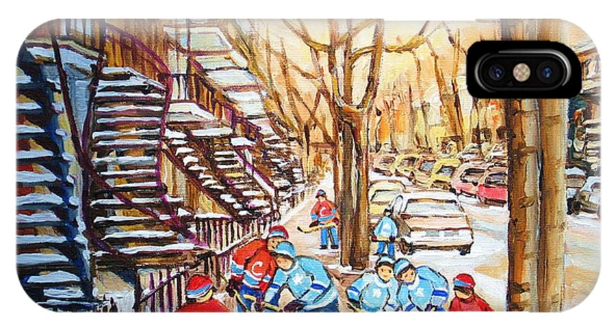 Montreal IPhone X Case featuring the painting Hockey Game Near Winding Staircases by Carole Spandau