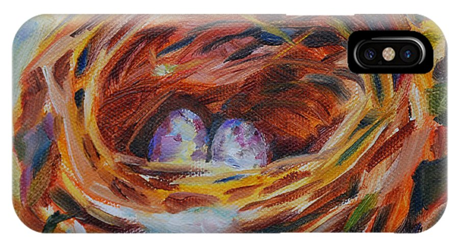 Nest IPhone X Case featuring the painting Home Sweet Home by Carol DeMumbrum
