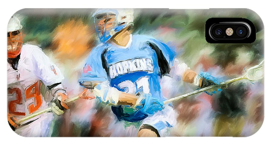Lacrosse IPhone X Case featuring the painting College Lacrosse Midfielder by Scott Melby