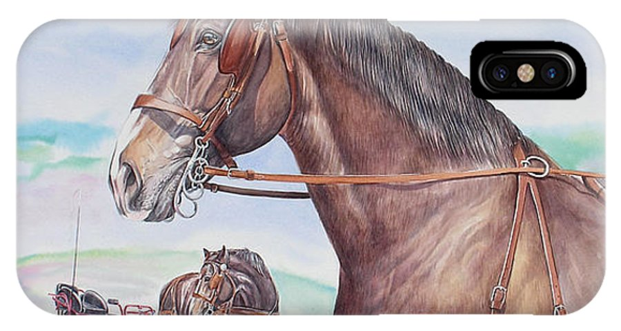 Horses IPhone X / XS Case featuring the painting Horse And Cart by Gail Dolphin