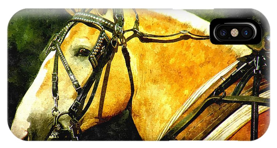 Horse IPhone X Case featuring the painting Horse In Paint by Amanda Struz