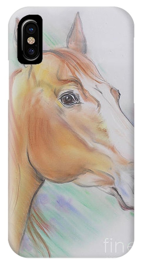 Horse IPhone X / XS Case featuring the pastel Horse Spooked by Gail Dolphin