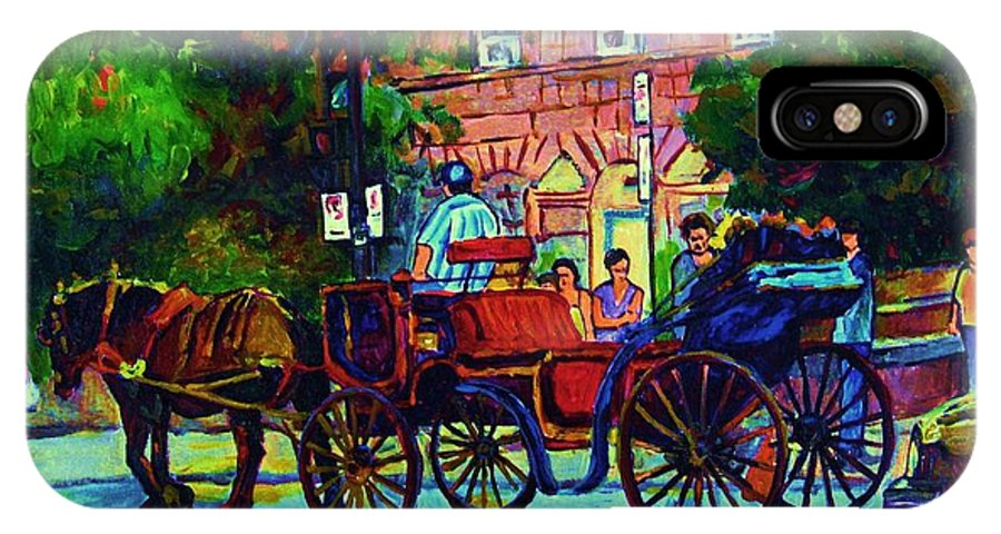 Rue Notre Dame IPhone X Case featuring the painting Horsedrawn Carriage by Carole Spandau