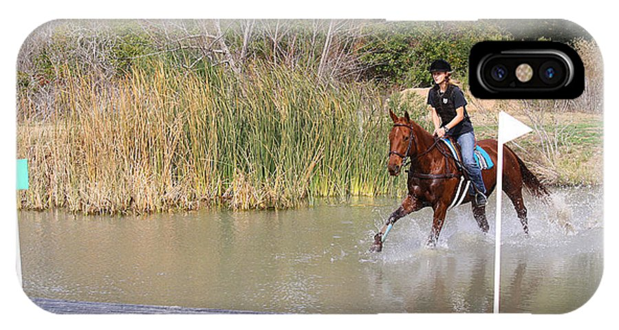 Roena King IPhone X Case featuring the photograph Horses Dont Like Water by Roena King