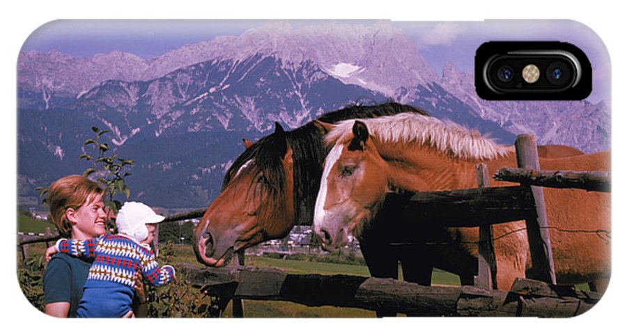 Woman IPhone X Case featuring the photograph Horses In Switzerland by Carl Purcell