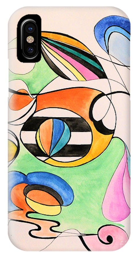 Abstract IPhone X Case featuring the painting Hot Air Balloon by Rebecca Stephens