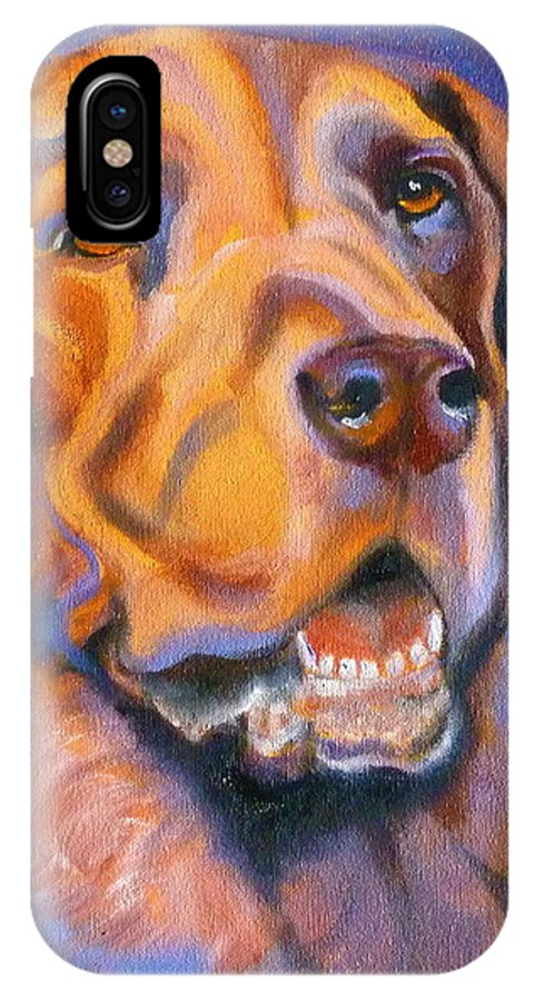 Lab IPhone X Case featuring the painting Hot Chocolate Lab by Susan A Becker