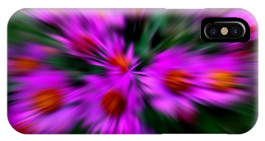 Abstract IPhone X / XS Case featuring the digital art Hot Pink And Green by Smilin Eyes Treasures