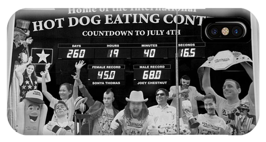 Brooklyn IPhone X Case featuring the photograph Hotdog Eating Contest Time In Black And White by Rob Hans