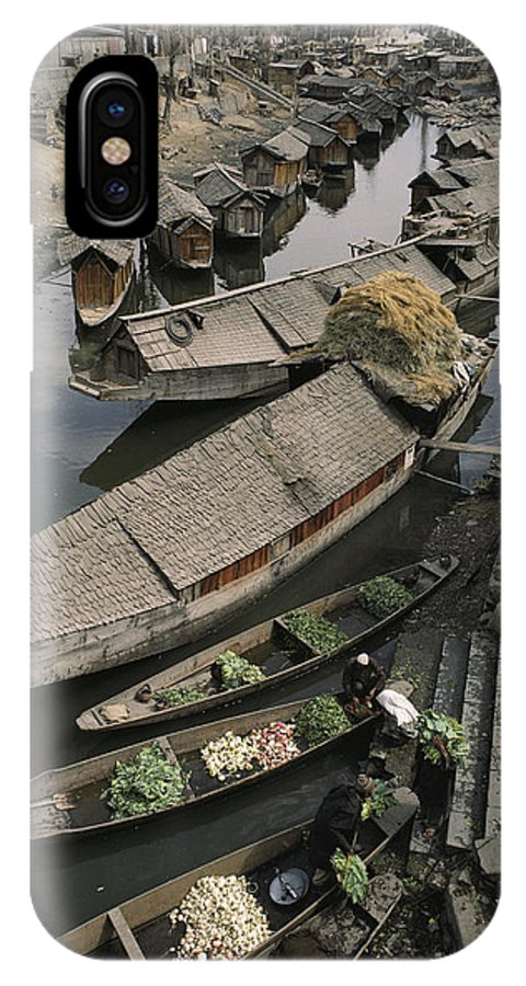 Asia IPhone X / XS Case featuring the photograph Houseboats Line A Waterway by Gordon Wiltsie