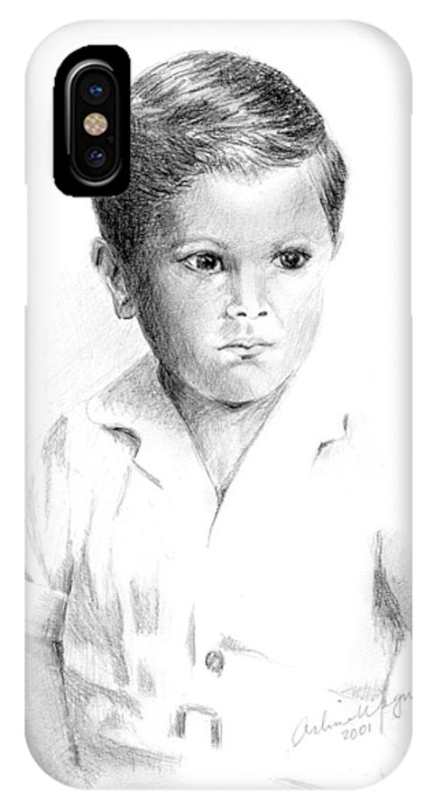 Boy IPhone X Case featuring the drawing I Don't Want My Picture Taken... by Arline Wagner