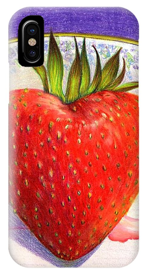 Strawberry IPhone X Case featuring the painting I Love You Berry Much by Nancy Cupp