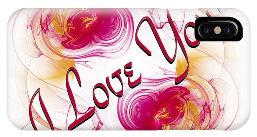 Fine Art Greeting Card IPhone X Case featuring the digital art I Love You Card 1 by Andee Design