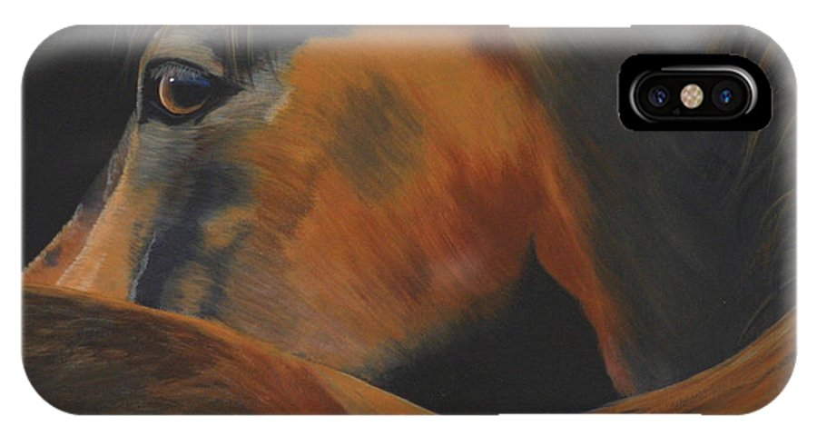 Horse IPhone X Case featuring the painting I See You by Diana Mahnke
