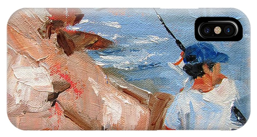 Fishing IPhone X / XS Case featuring the painting I Think I Got One by Barbara Andolsek