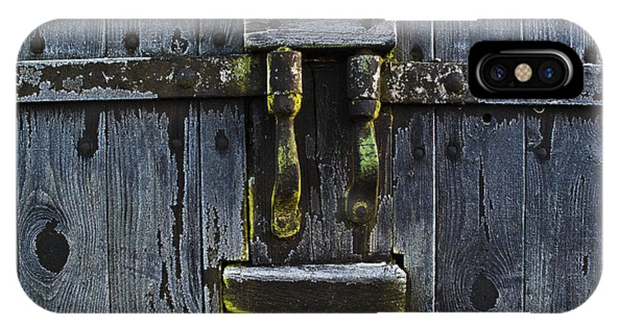 Door IPhone X Case featuring the photograph Ice Crystals On Wooden Gate by Heiko Koehrer-Wagner