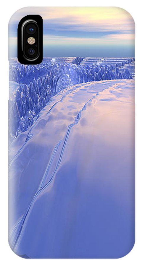Digital Art IPhone X Case featuring the digital art Ice Fissure by Phil Perkins