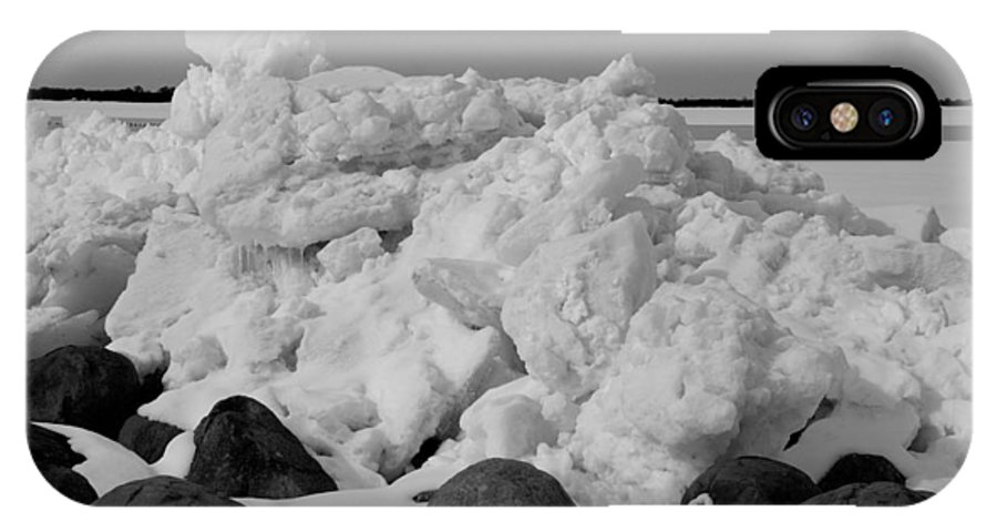 Jma IPhone X Case featuring the photograph Icy Shoreline In Black And White by Janice Adomeit