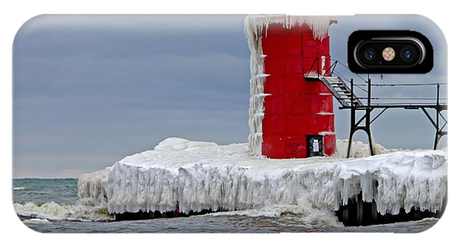 Lighthouse IPhone X Case featuring the photograph Icy South Haven Mi Lighthouse by Jack Schultz