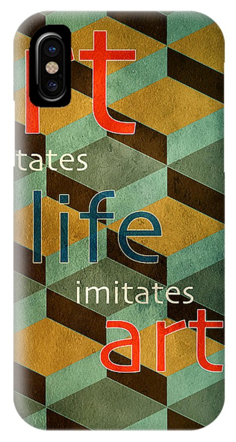 Art Imitates Life IPhone X Case featuring the digital art Imitations by Bonnie Bruno