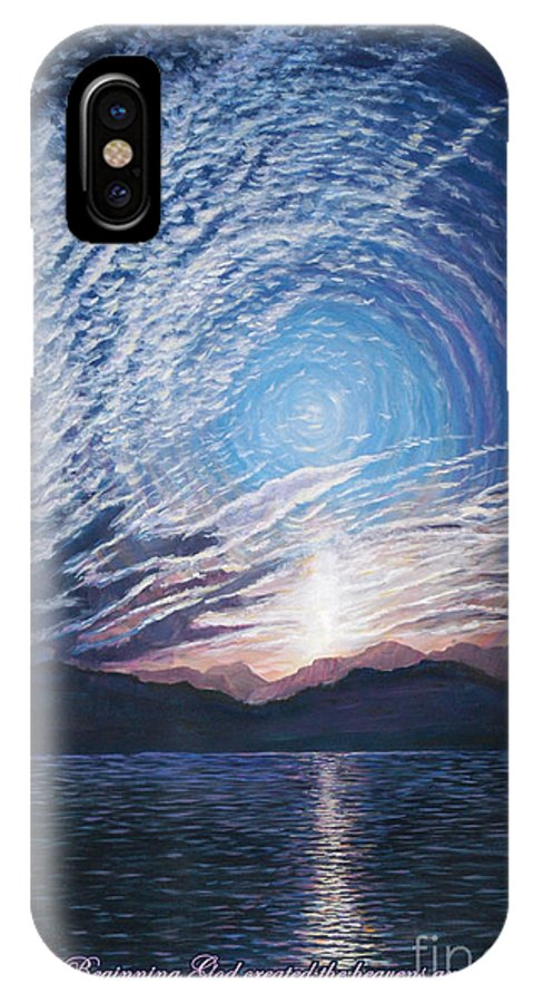 Sunrise IPhone X Case featuring the painting In The Beginning by LeRoy Jesfield